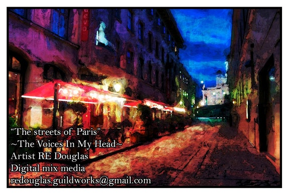 """The streets of Paris"" 32x22 Original framed mixed media digital paintings.  Re Douglas"