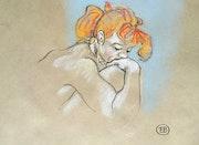 Jeune fille rousse en pleine réflexion. Etienne Bonnet