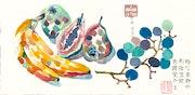 Stillleben mit Früchten, Variation 2 (1989) Frabradierung. Hajo Horstmann