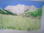 Aquarelle originale du Mont Blanc - signée du peintre - non encadrée. Mauguil