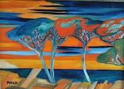 Toile peinture tableau signée Puech / Sérénité sur Arcachon / Akoun. Mireille Puech