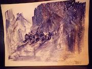 Village imaginaire des alpes.