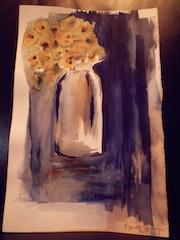 Bouquet dans l'obscurité.