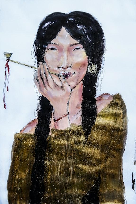 Une femme Kalmouke qui fume. Baina Sand Baina