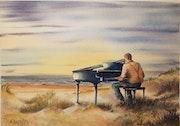 Pianiste dans les dunes. Art Demo