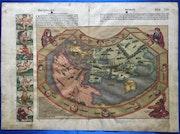 Original Weltkarte Schedel'sche Weltchronik 1493, dt. Ausgabe, koloriert, selten. Thomas Kern