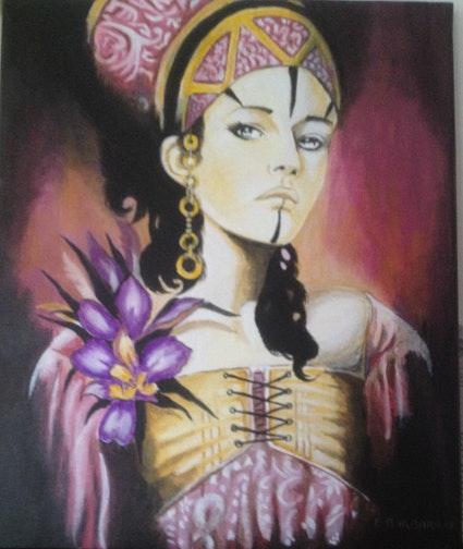 Portrait sur toile d'une Égyptienne.  Frank Barbara