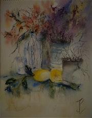 Nature morte au fruits jaunes. Jean-Pierre Lemoine