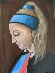 Jeune fille au choucou bleu.