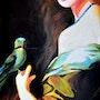 «L'Oiseau Vert»; Jeune femme à l'oiseau vert. Sophie Duplain