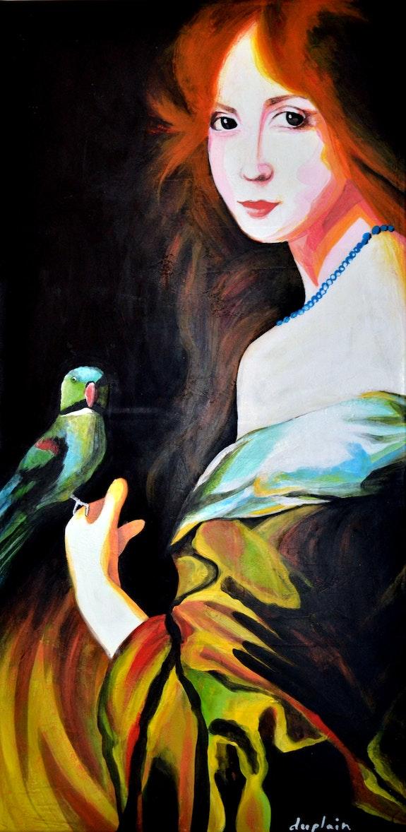 «L'Oiseau Vert»; Jeune femme à l'oiseau vert. Sophie Duplain Sophie Duplain
