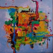 Tuval üzerine yağlı boya, 90 X 90 cm.. Canip Doğutürk