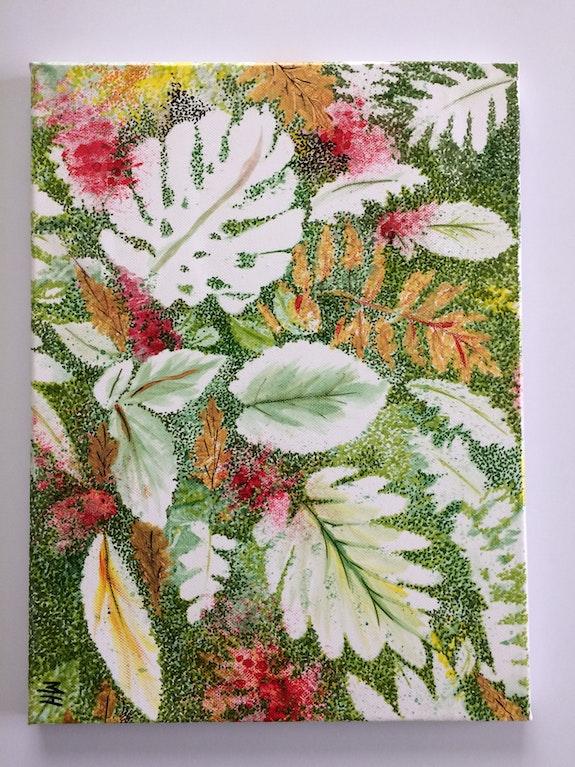 Tapis de feuilles / acrylique et encres sur toile. Marie-Hélène Ducoudray Mariraff