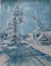 Blizzard sur le village.