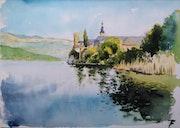 Aquarelle de l'abbaye de Hautecombe & le lac du Bourget.. L'aquarelle En Voyage.