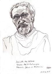 Michelangelo Portrait 1 (2005), Zeichnung nach Daniele da Volterra`s Büste. Hajo Horstmann