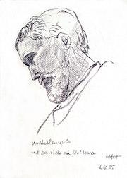 Michelangelo Portrait 2 (2005), Zeichnung nach Daniele da Volterra`s Büste,. Hajo Horstmann