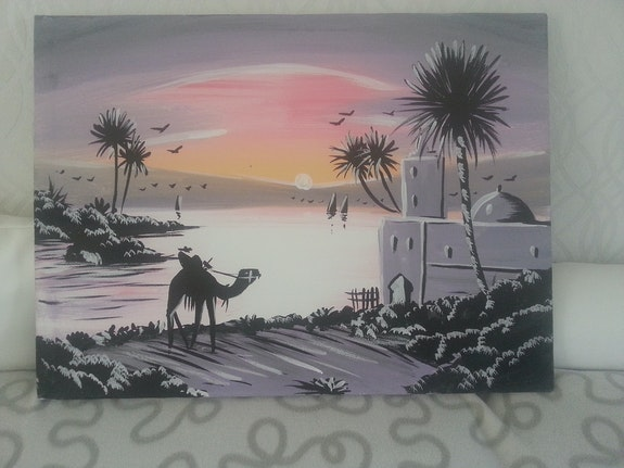 Tableau paysage. Inconnu Khalil Lafriki