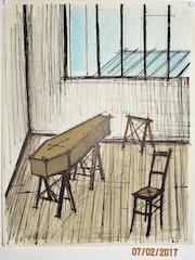 Bernard Buffet : cercueil dans un atelier d'artiste. Historien d'art, Archéologue; Chercheur Free-Lance (Er)