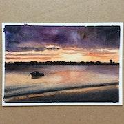 Sunrise in Roscoff (watercolor version).