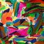 «Bohemian jungle«art moderne contemporain abstrait sur toile 80x60. Xenart