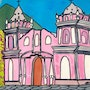 «Pink church» art naif moderne contemporain sur bois 30x40 cm.