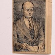 Decaris : portrait anonyme, en buste (Homme au livre).. Historien d'art, Archéologue; Chercheur Free-L.