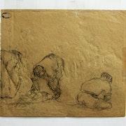 Maximilien Luce : saisie d'attitudes d'ouvriers. Verso 1.. Historien d'art, Archéologue; Chercheur Free-L.