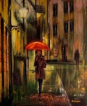 La belle au parapluie rouge.