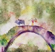 Aquarelle le pont. Yokozaza