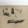 Eugène Cicéri : 7 croquis d'intérêt ethnographique. Troisième feuille, recto. Historien d'art, Archéologue; Chercheur Free-Lance (Er)