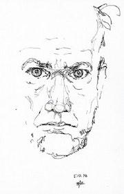 Selbstbildnis (1976) Zeichnung. Hajo Horstmann