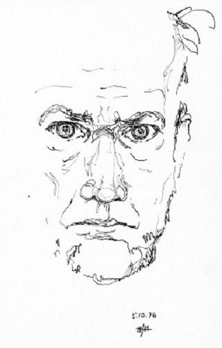 Selbstbildnis (1976) Zeichnung. Hajo Mhorstmann Hajo Horstmann