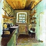 Inside a house in Low Silesia, Poland - Aquarelle. L'aquarelle En Voyage.