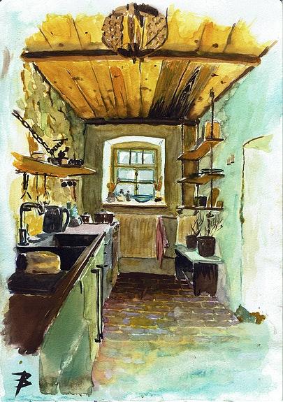 Maison de Basse-Silésie - Aquarelle. Paul Bardot L'aquarelle En Voyage.