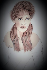 Memories is a drawing depicting a young lady.. Sandra S. Corona