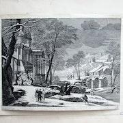 Gabriel pérelle : Nativité sous un temple en ruine et dans un paysage neigeux.. Historien d'art, Archéologue; Chercheur Free-L.