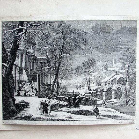 Gabriel pérelle : Nativité sous un temple en ruine et dans un paysage neigeux.. Gabriel Pérelle. / Perrelle: Historien d'art, Archéologue; Chercheur Free-L.