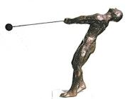 Hammerwerfer 3 (1993), Bronzeskulptur, kurz vor dem Abwurf des Hammers. Hajo Horstmann