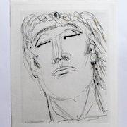 Henri de waroquier : Figue masculine un peu renversée en arrière.. Historien d'art, Archéologue; Chercheur Free-L.