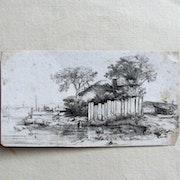 Harmensz rembrandt (retirage ancien ? ) : La maison entourée de planches/palis. Historien d'art, Archéologue; Chercheur Free-L.