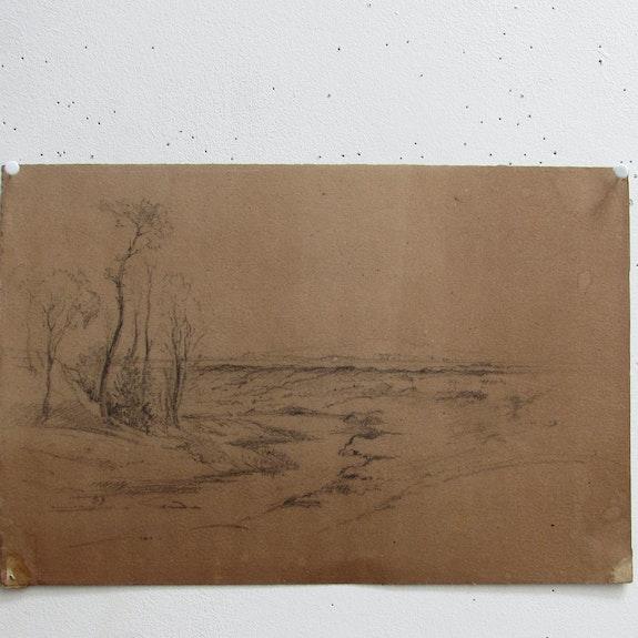 Jean-Baptiste Camille corot : Paysage de plaine, avec ruisseau. Recto. Jean-Baptiste Camille Corot. Historien d'art, Archéologue; Chercheur Free-Lance (Er)