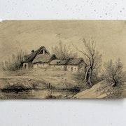 Jean-Baptiste Camille corot : Chaumière-ferme et ses dépendances, et sa mare.. Historien d'art, Archéologue; Chercheur Free-L.