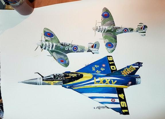 Mirage 2000 c et spitfire 340 sqd. Baldinotti Francois Forangeart F. Baldinotti Peintre De l'air