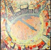 Siena, Piazza von obn (1989) Olbild. Hajo Horstmann