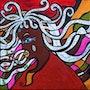 'Etres et Ancêtre'acrylique sur toile, 40x40cm,'La Genèse des Apatrides'. Stefanna