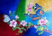 Papillons et fleurs.