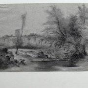Jean-François millet (attribuable à) : Étude d'un torrent.. Historien d'art, Archéologue; Chercheur Free-L.