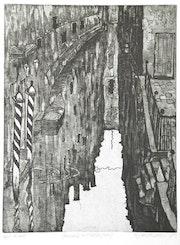 Venezia 4 (1981) Kleiner Kanal in Venedig. Aquatinta-Radierung. Hajo Horstmann