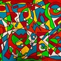 «Games» art moderne abstrait contemporain sur toile 80x 60 cm.